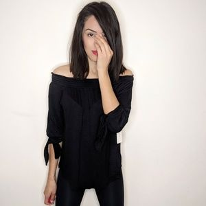 NWT FRENCH LAUNDRY black Boho style knit top